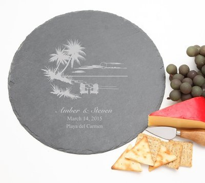 Personalized Slate Cheese Board Round 12 x 12 DESIGN 33