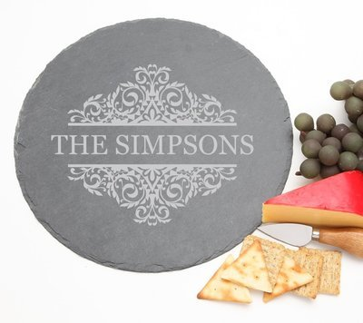 Personalized Slate Cheese Board Round 12 x 12 DESIGN 39