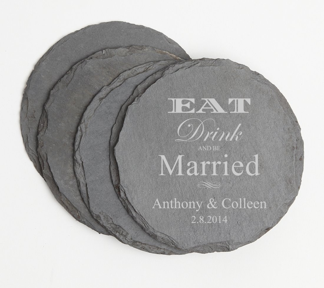 Personalized Slate Coasters Round Engraved Slate Coaster Set DESIGN 17
