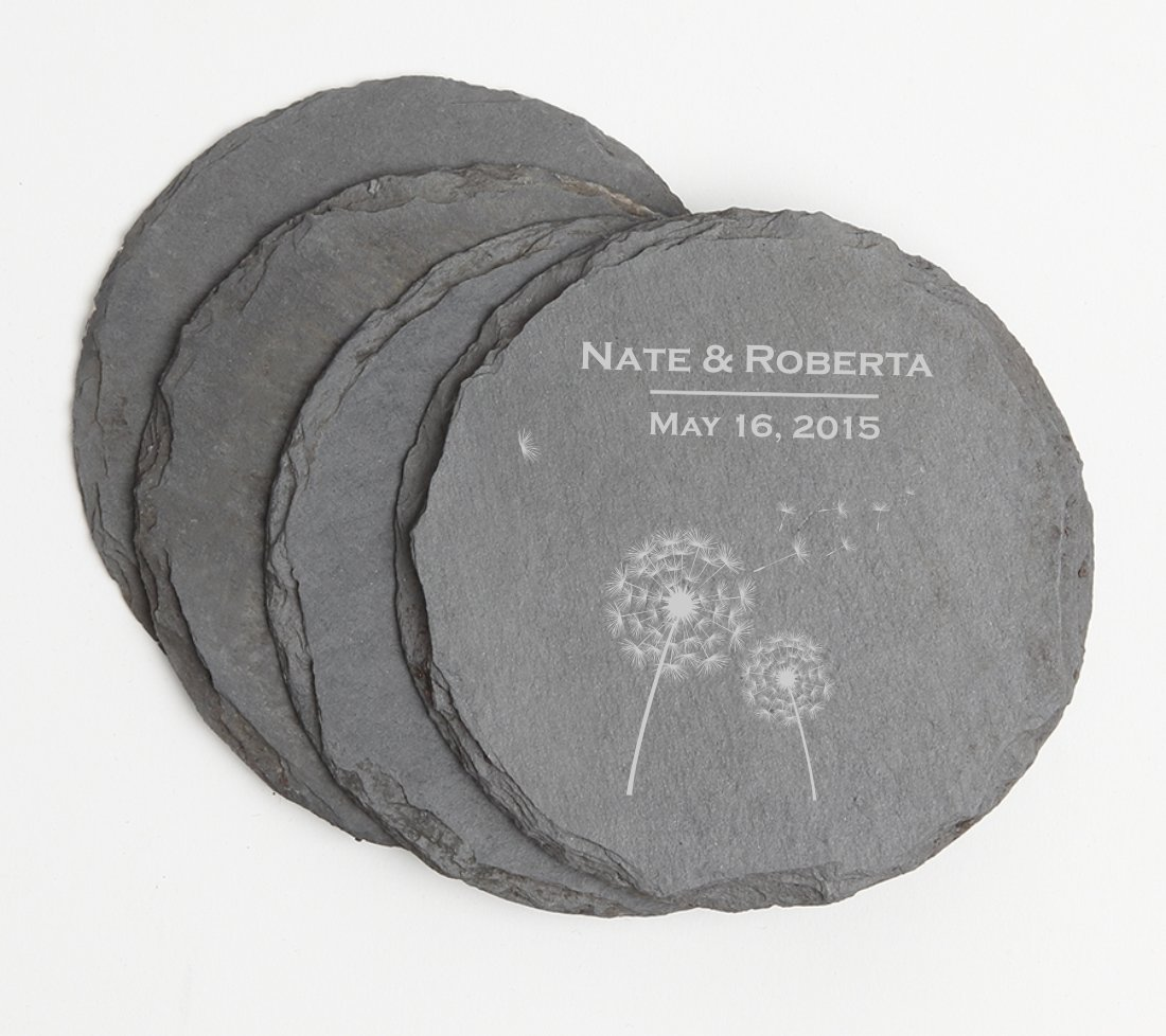 Personalized Slate Coasters Round Engraved Slate Coaster Set DESIGN 28