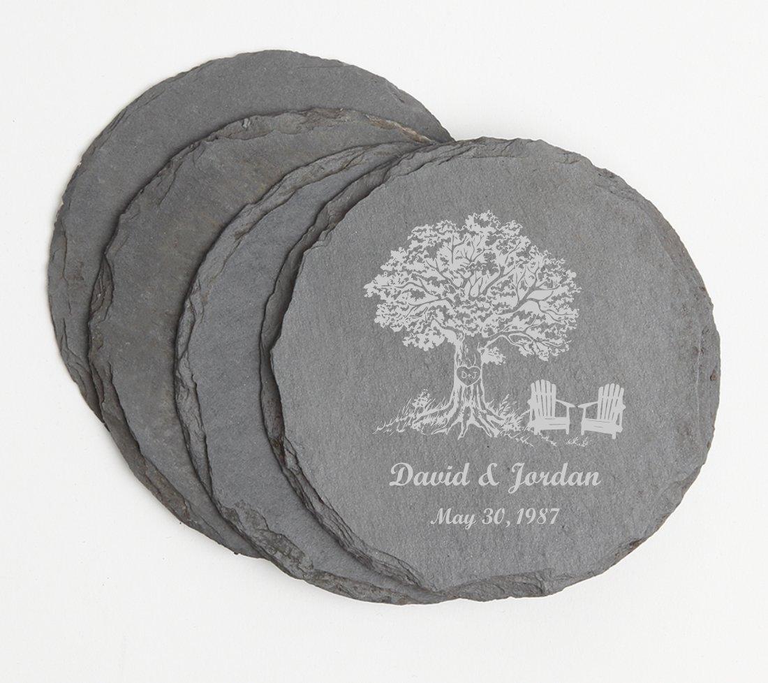 Personalized Slate Coasters Round Engraved Slate Coaster Set DESIGN 31