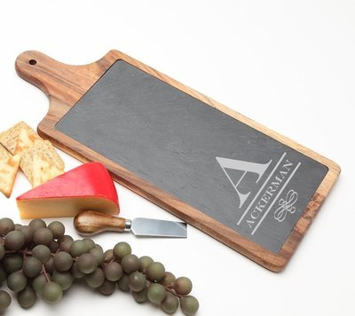 Personalized Cheese Board Slate and Acacia Wood 17 x 7 DESIGN 12
