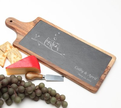 Personalized Cheese Board Slate and Acacia Wood 17 x 7 DESIGN 29