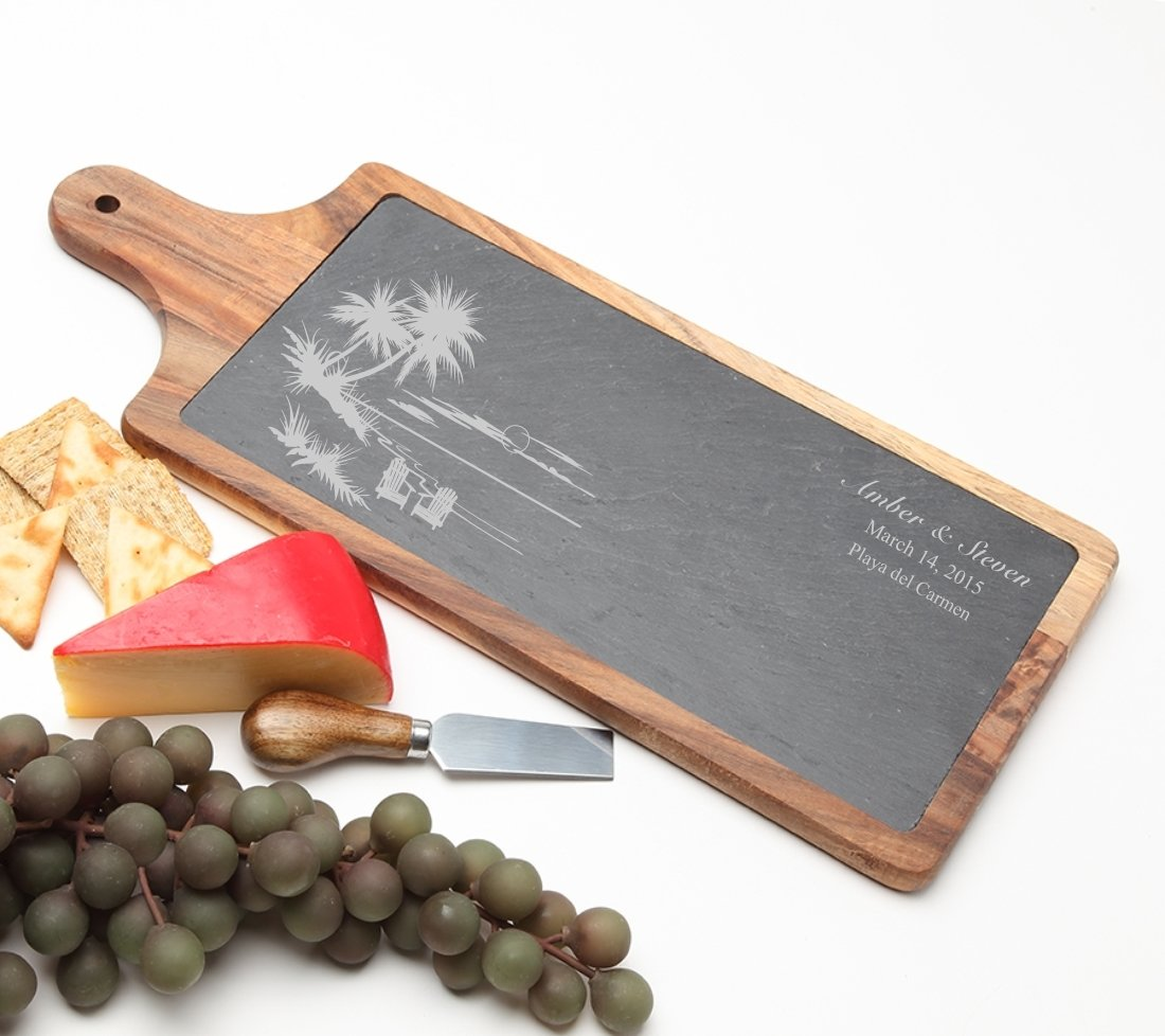 Personalized Cheese Board Slate and Acacia Wood 17 x 7 DESIGN 33