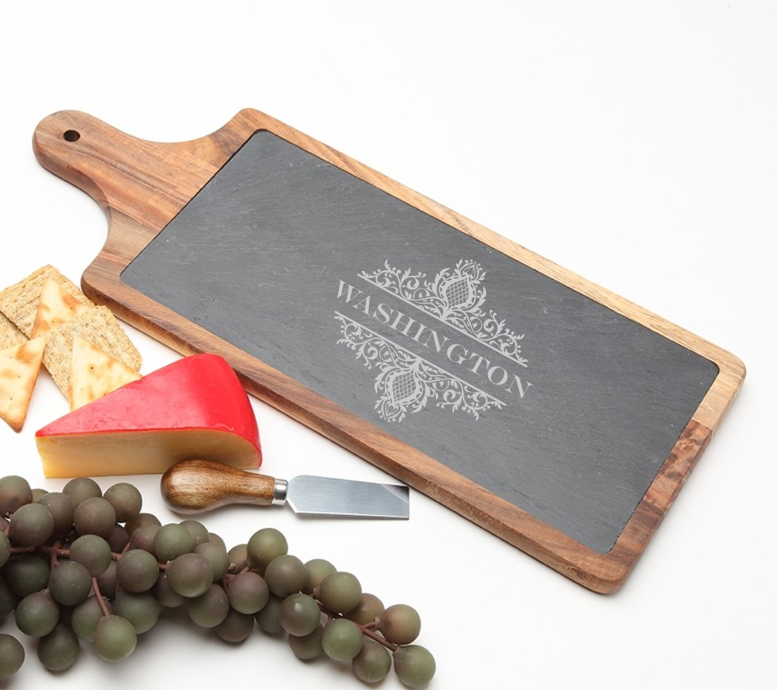 Personalized Cheese Board Slate and Acacia Wood 17 x 7 DESIGN 36