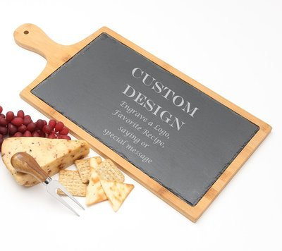 Personalized Cheese Board Slate and Bamboo 19 x 9 DESIGN 13