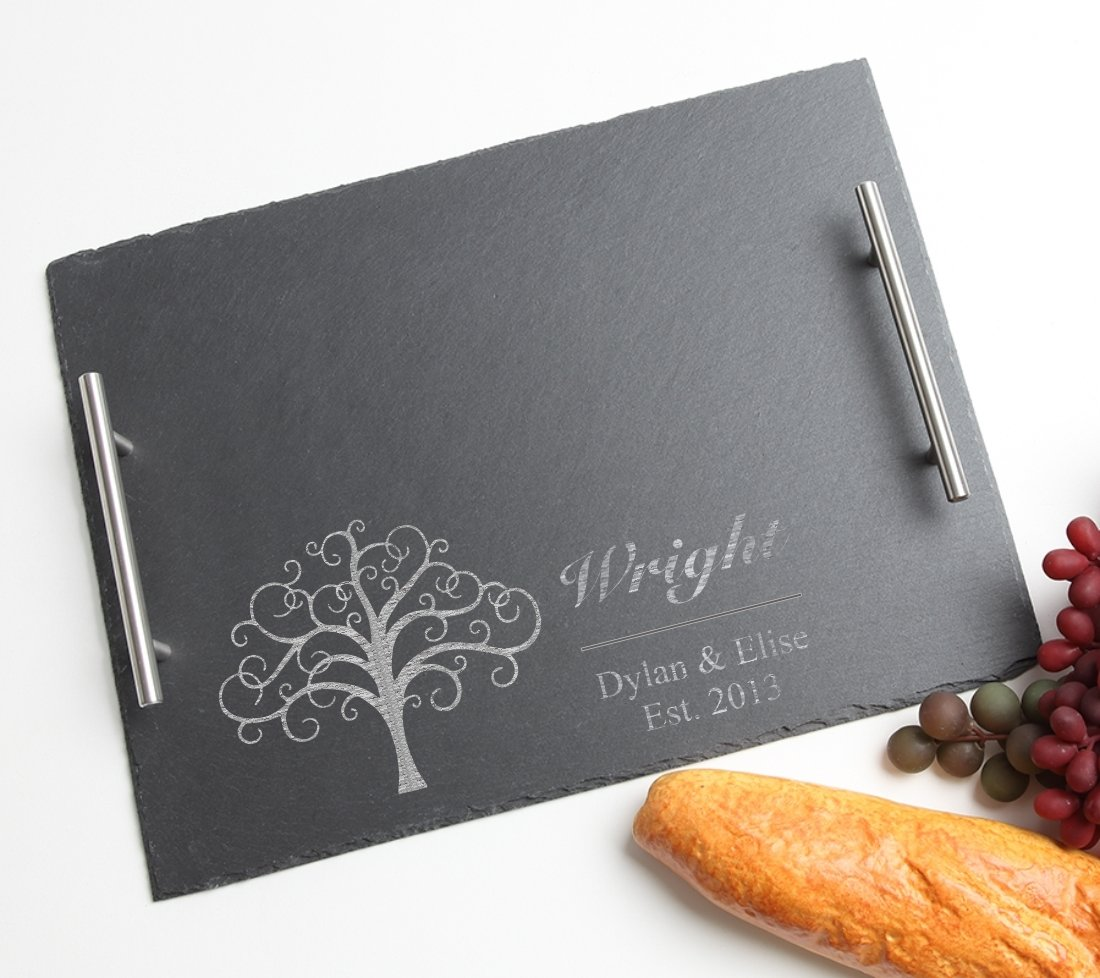 Personalized Slate Serving Tray Stainless 15 x 12 DESIGN 18