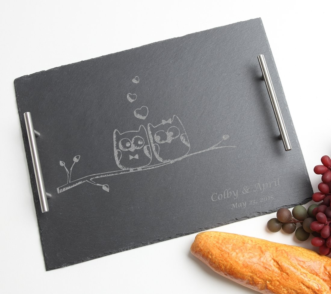 Personalized Slate Serving Tray Stainless 15 x 12 DESIGN 29
