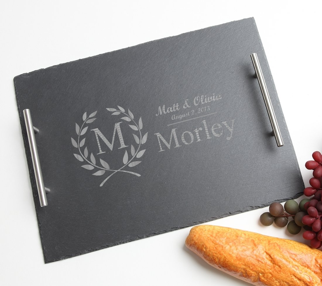 Personalized Slate Serving Tray Stainless 15 x 12 DESIGN 6