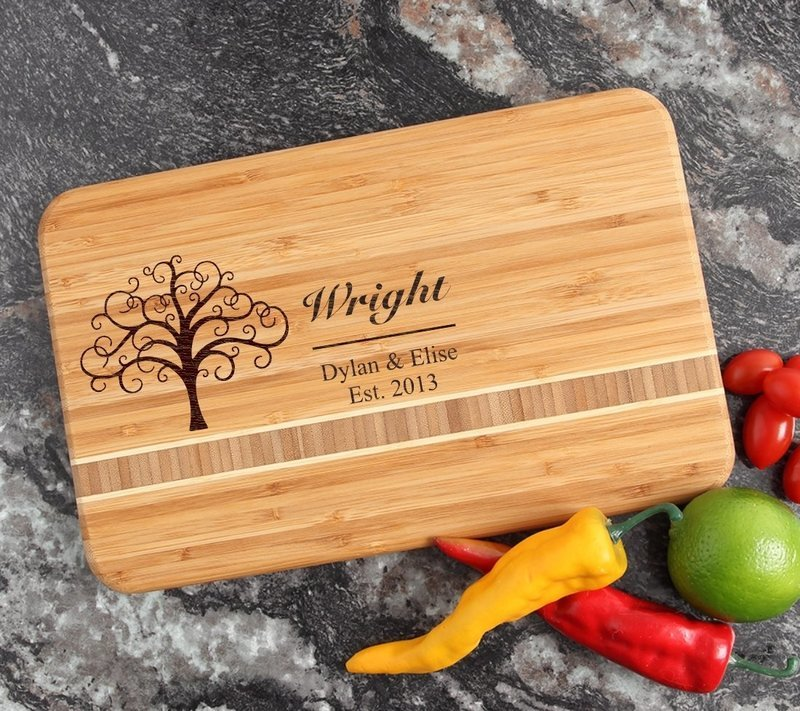 Personalized Bamboo Cutting Board Engraved 12 x 8 DESIGN 18