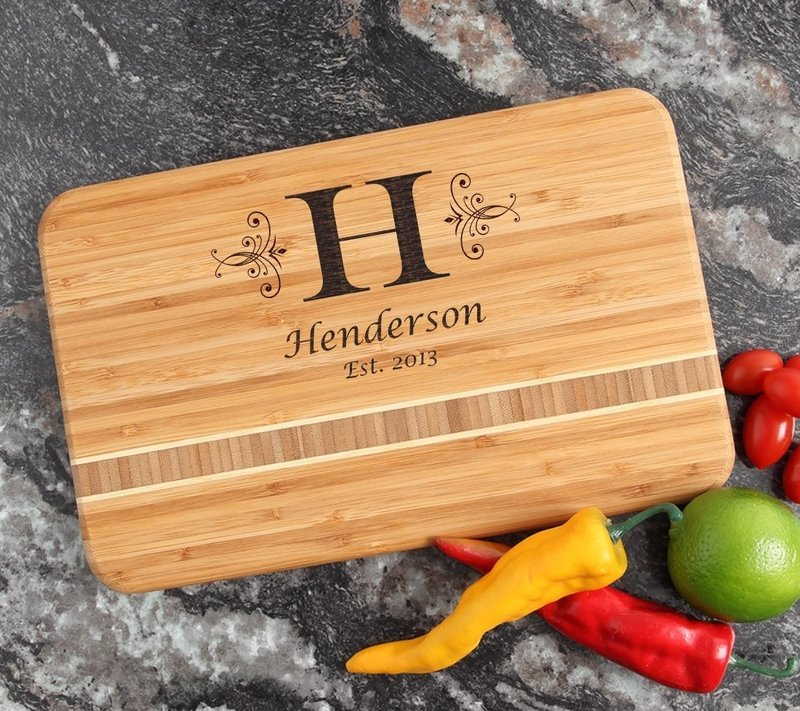 Personalized Bamboo Cutting Board Engraved 12 x 8 DESIGN 2