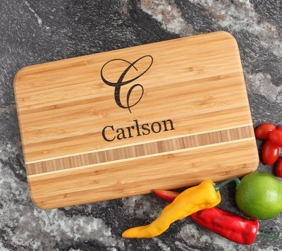 Personalized Bamboo Cutting Board Engraved 12 x 8 DESIGN 3