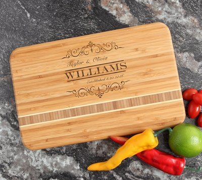 Personalized Bamboo Cutting Board Engraved 12 x 8 DESIGN 34