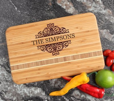 Personalized Bamboo Cutting Board Engraved 12 x 8 DESIGN 39