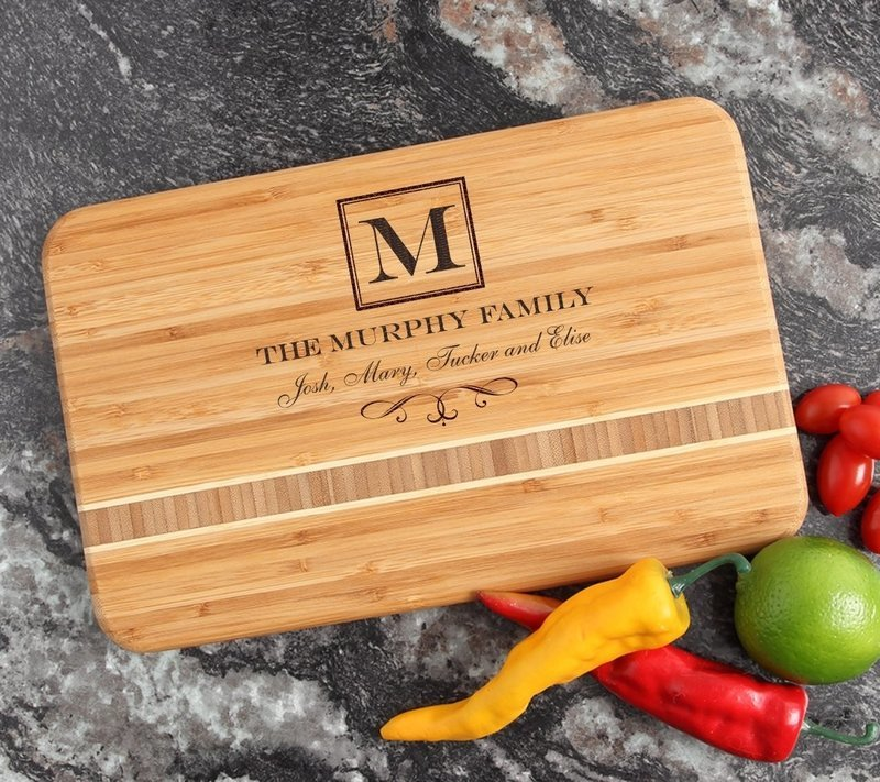 Personalized Bamboo Cutting Board Engraved 12 x 8 DESIGN 41
