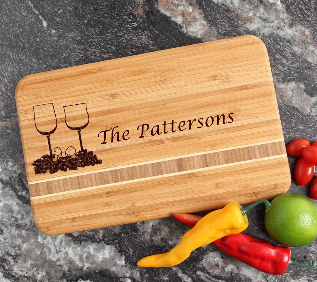 Personalized Bamboo Cutting Board Engraved 12 x 8 DESIGN 5