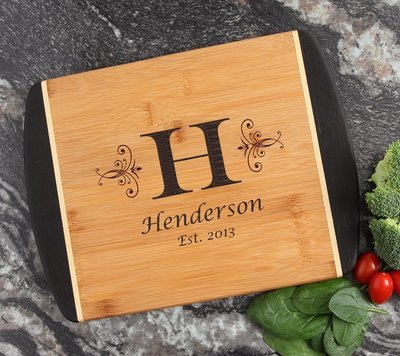 Cutting Board Engraved Personalized Bamboo 12 x 9 DESIGN 2