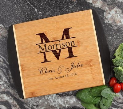 Cutting Board Engraved Personalized Bamboo 12 x 9 DESIGN 24