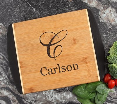 Cutting Board Engraved Personalized Bamboo 12 x 9 DESIGN 3
