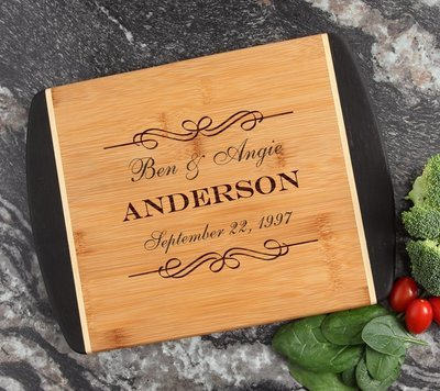 Cutting Board Engraved Personalized Bamboo 12 x 9 DESIGN 9