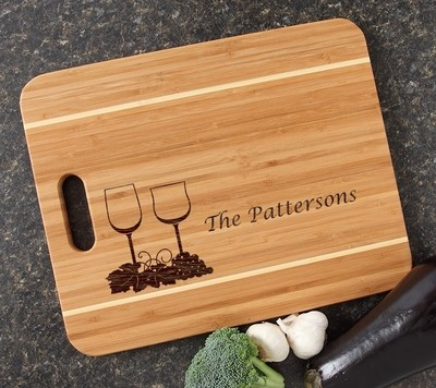 Personalized Cutting Board Engraved 15x12 Handle DESIGN 5