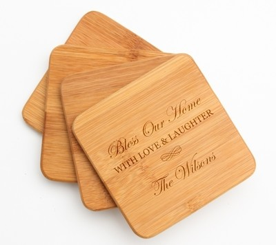 Personalized Bamboo Coasters Engraved Bamboo Coaster Set DESIGN 22