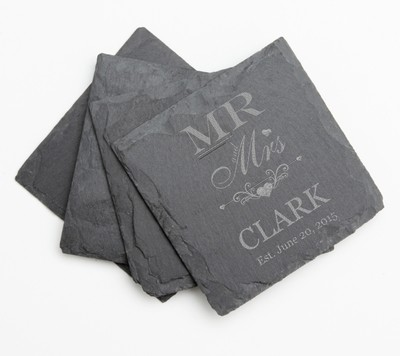 Personalized Slate Coasters Engraved Slate Coaster Set DESIGN 21