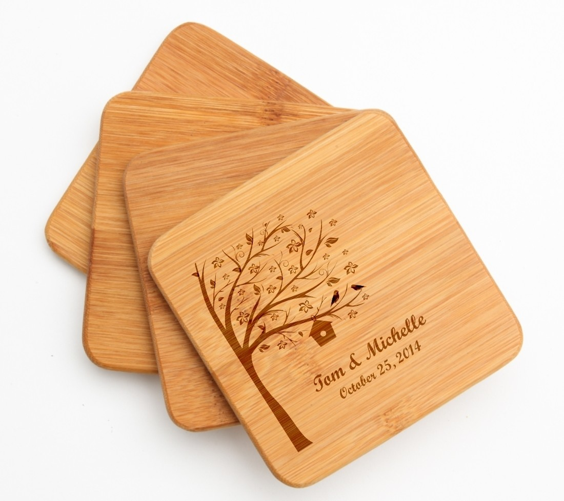 Personalized Bamboo Coasters Engraved Bamboo Coaster Set DESIGN 27