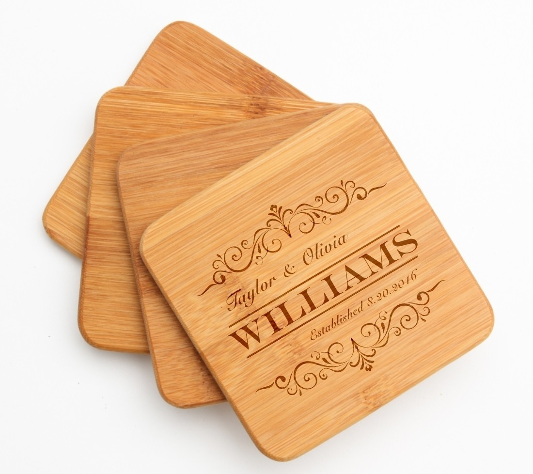 Personalized Bamboo Coasters Engraved Bamboo Coaster Set DESIGN 34