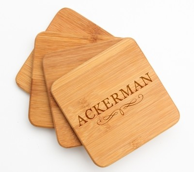 Personalized Bamboo Coasters Engraved Bamboo Coaster Set DESIGN 8