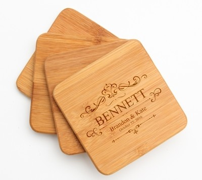 Personalized Bamboo Coasters Engraved Bamboo Coaster Set DESIGN 35