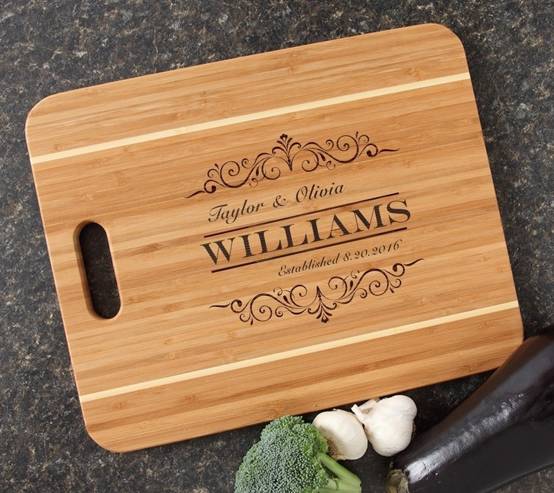 Personalized Cutting Board Engraved 15x12 Handle DESIGN 34