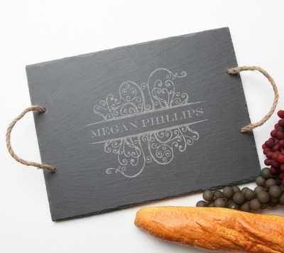 Personalized Slate Serving Tray Rope 15 x 12 DESIGN 4