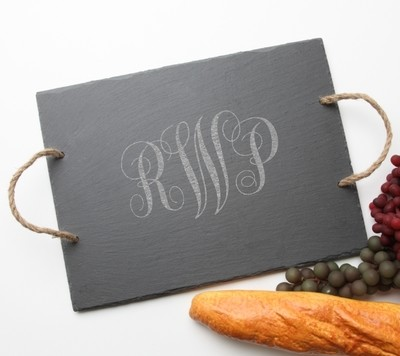 Personalized Slate Serving Tray Rope 15 x 12 DESIGN 1