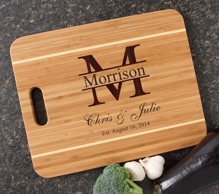 Personalized Cutting Board Engraved 15x12 Handle DESIGN 24