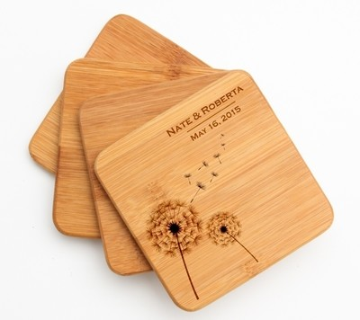 Personalized Bamboo Coasters Engraved Bamboo Coaster Set DESIGN 28