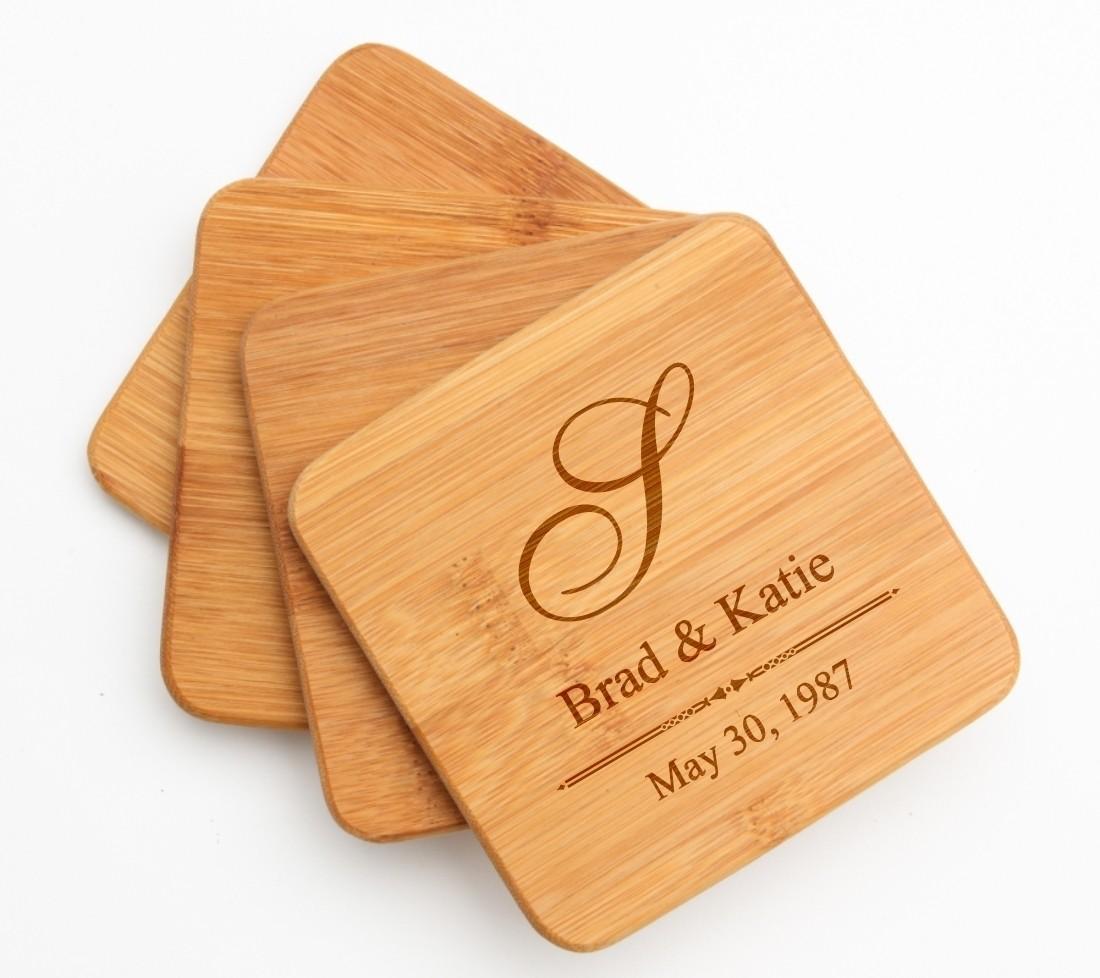 Personalized Bamboo Coasters Engraved Bamboo Coaster Set DESIGN 11