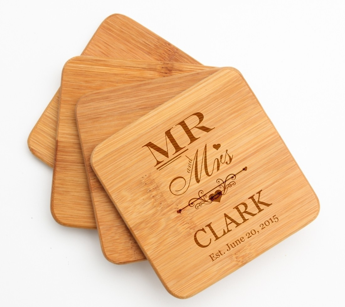 Personalized Bamboo Coasters Engraved Bamboo Coaster Set DESIGN 21