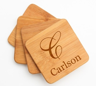 Personalized Bamboo Coasters Engraved Bamboo Coaster Set DESIGN 3