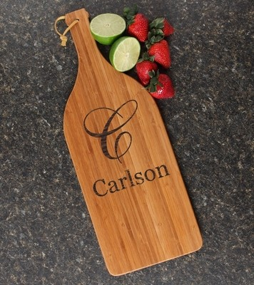 Personalized Cutting Board Engraved Bamboo 16 x 5 DESIGN 3