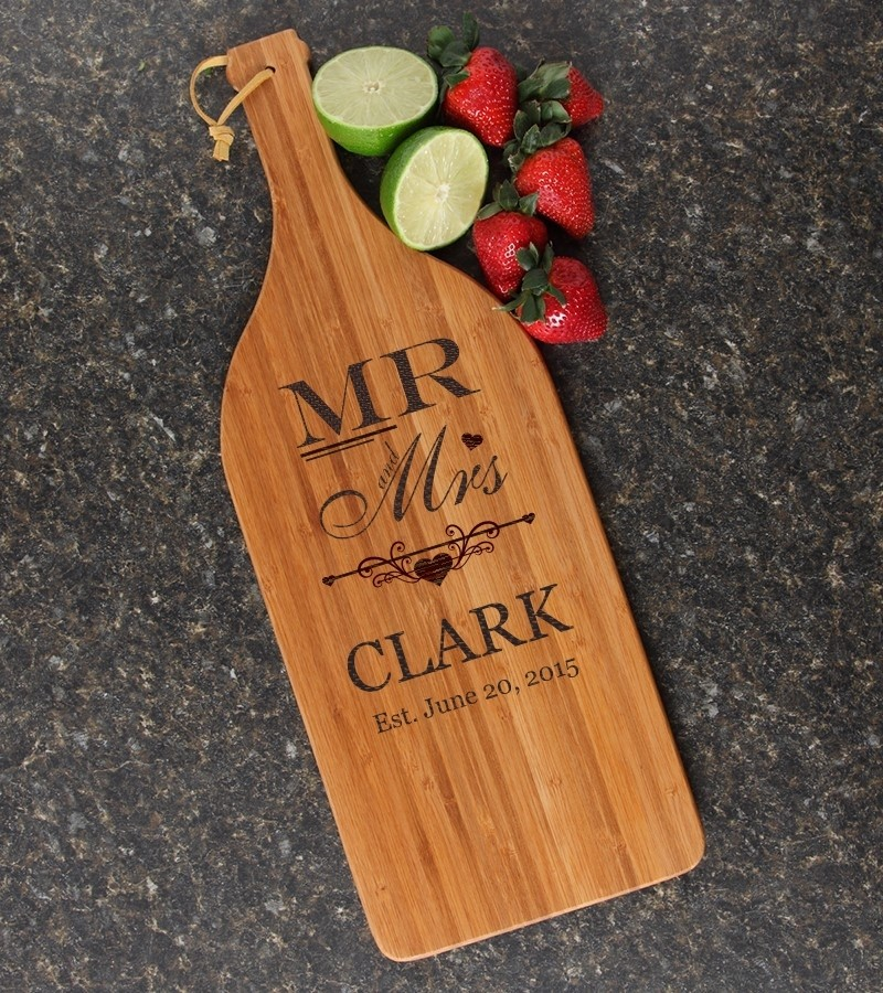 Personalized Cutting Board Engraved Bamboo 16 x 5 DESIGN 21