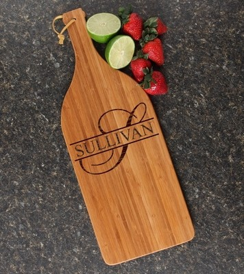 Personalized Cutting Board Engraved Bamboo 16 x 5 DESIGN 25