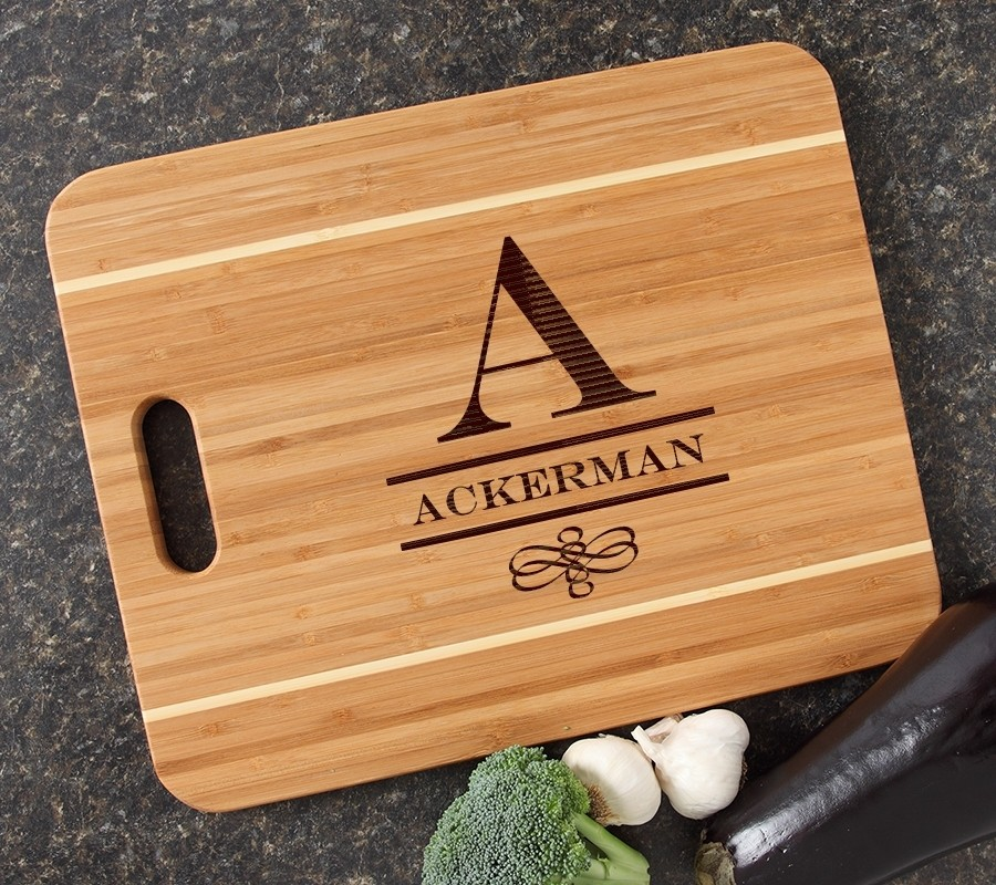 Personalized Cutting Board Engraved 15x12 Handle DESIGN 12