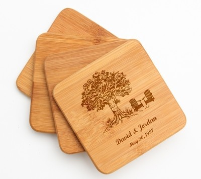 Personalized Bamboo Coasters Engraved Bamboo Coaster Set DESIGN 31