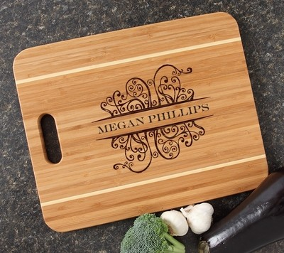 Personalized Cutting Board Engraved 15x12 Handle DESIGN 4