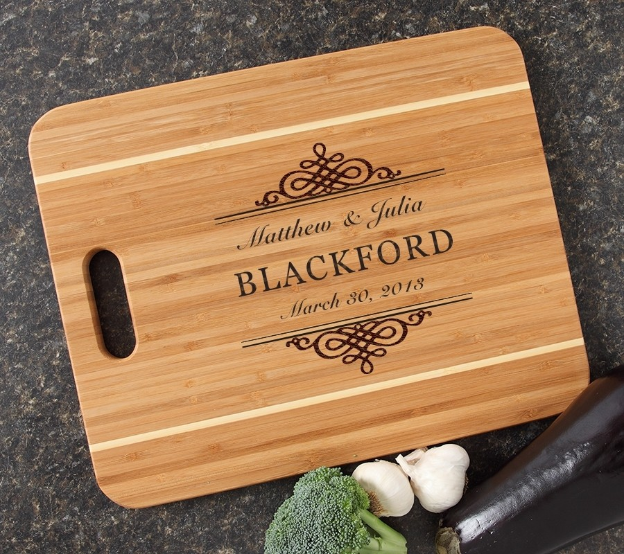 Personalized Cutting Board Engraved 15x12 Handle DESIGN 14