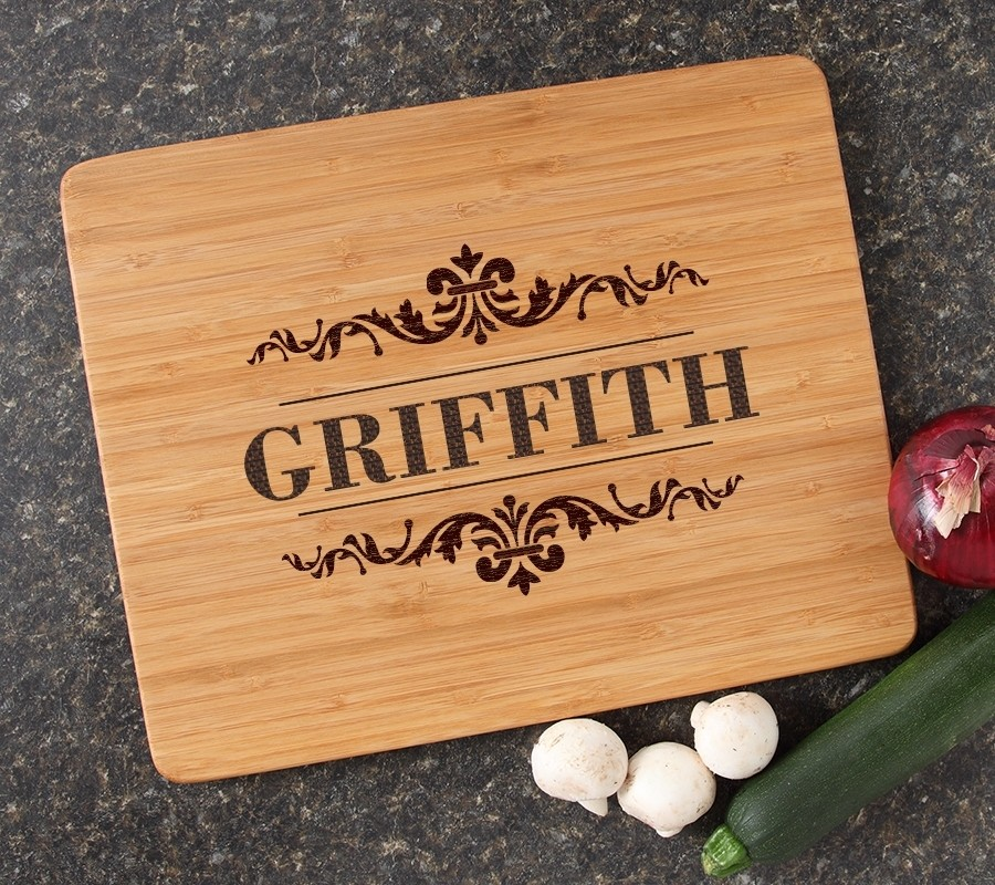 Engraved Bamboo Cutting Board Personalized 15x12 DESIGN 16