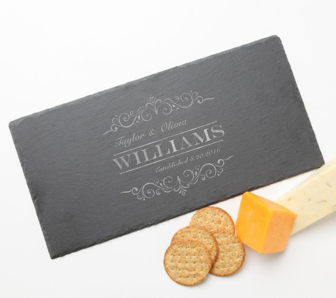 Personalized Slate Cheese Board 15 x 7 DESIGN 34