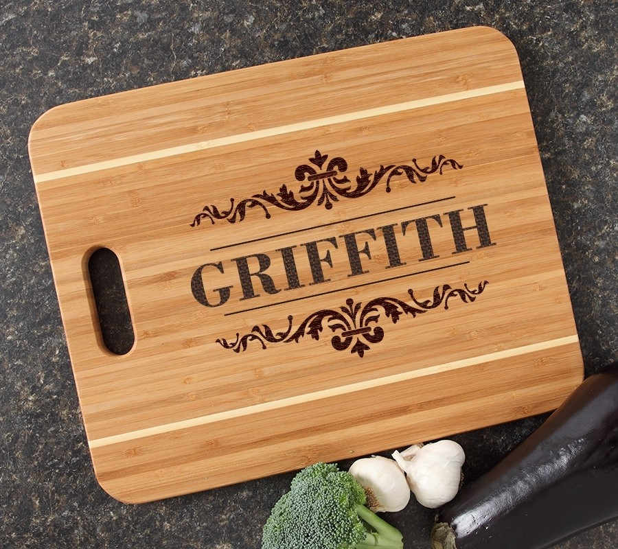 Personalized Cutting Board Engraved 15x12 Handle DESIGN 16