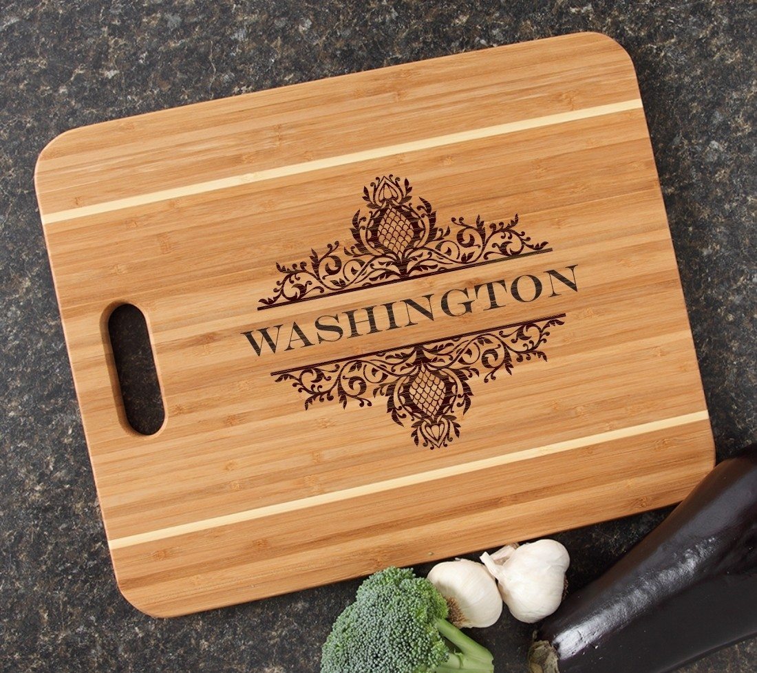 Personalized Cutting Board Engraved 15x12 Handle DESIGN 36